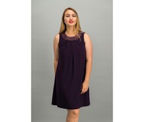 American Living Women's Beaded-Neck Jersey Dress, Eggplant