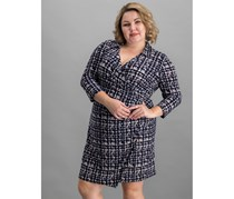 American Living Houndstooth Jersey Dress, Blue Combo