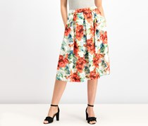 Tahari ASL Womens Floral Print Pleated Scuba Skirt, Red Combo