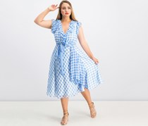 Tahari Asl Ruffled Gingham-Print Dress, Blue