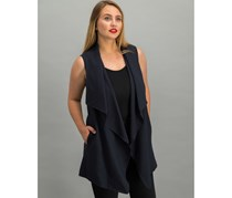 Tahari Draped-Front Pinstriped Vest, Navy