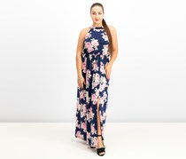 Trixxi Juniors' Open-Back Maxi Dress, Navy