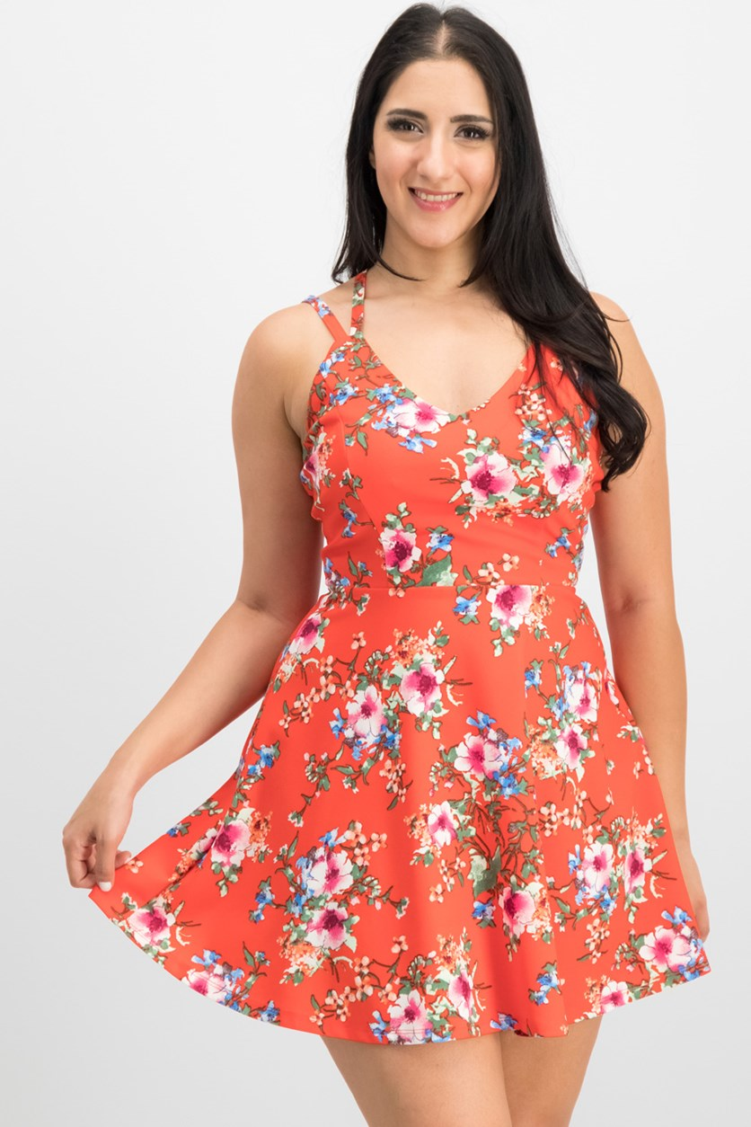 Juniors' Strappy-Back Fit & Flare Dress, Daytime