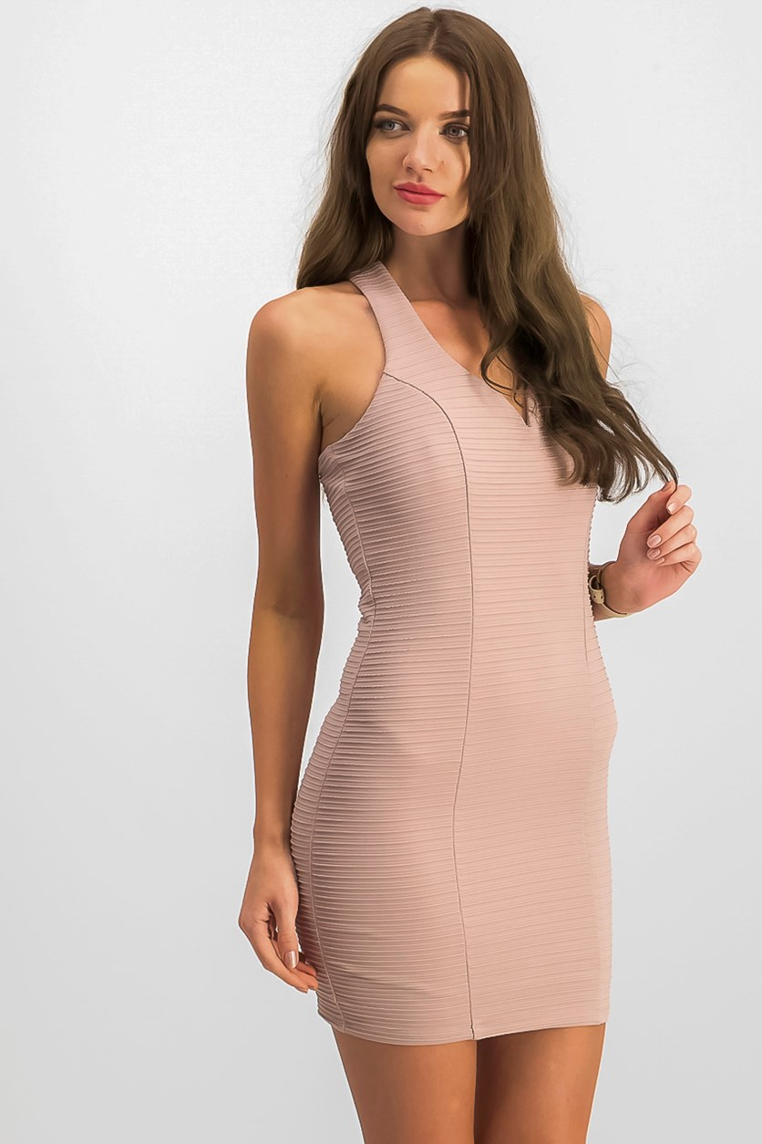 Juniors' Ribbed Strappy-Back Bodycon Dress, Dusty Pink
