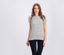 Bar III Striped Cold-Shoulder T-Shirt Bright, White Combo