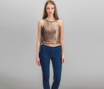 Sequined Cropped Top, Copper
