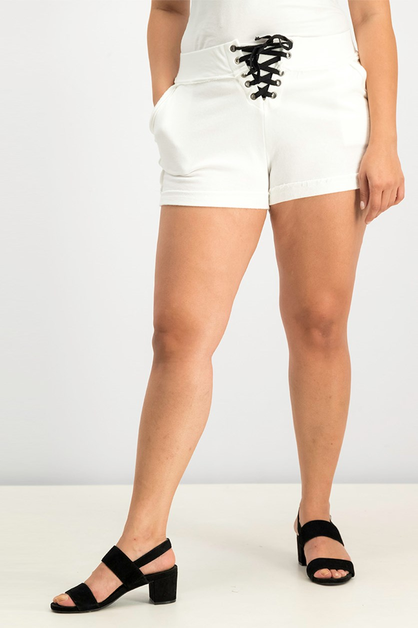 Active Cotton Terry Lace-Up Shorts, Cloud