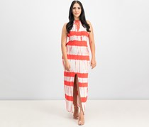 Women Juniors Printed Lace-Up Maxi Dress, Red/White Tie-Dye