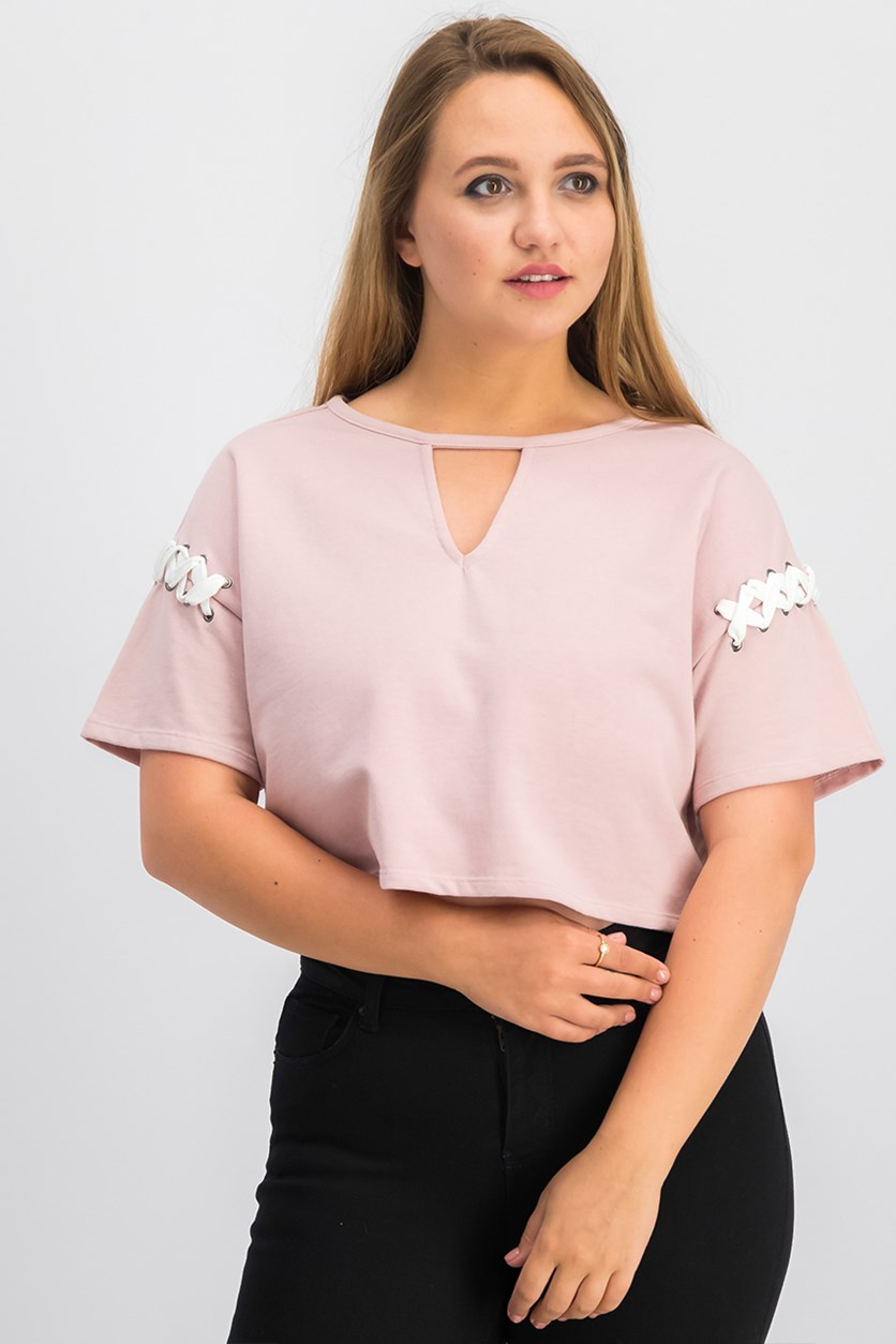 Women  Juniors Lace-Up Crop Top, Blush/Burnished Lilac