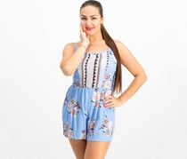 As U Wish Juniors' Printed Romper, Sky Blue/Coral