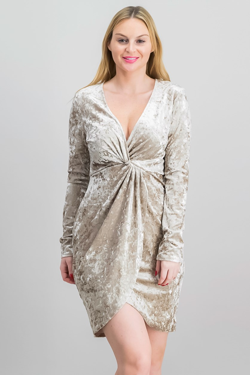 Women Mandy Faux-Wrap Dress, Pale Gold