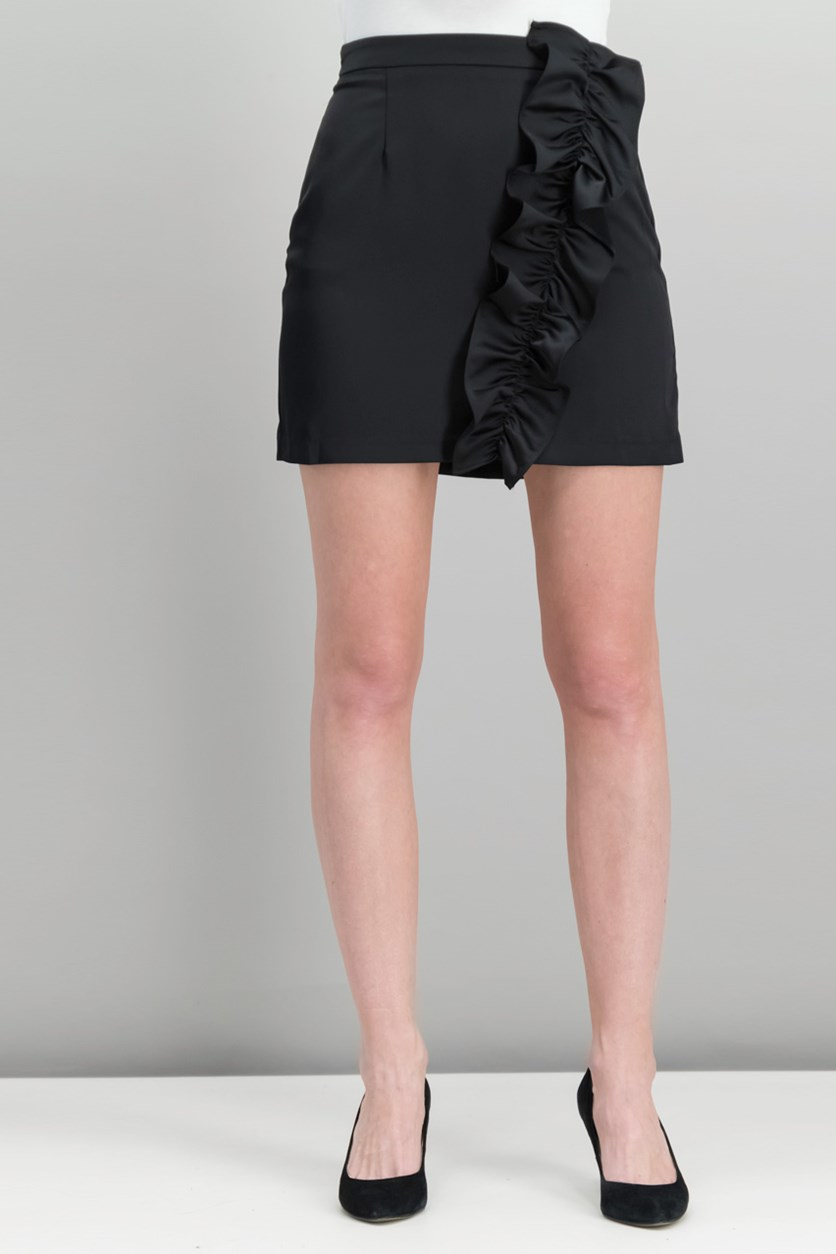 Women Isa Ruffled Skirt, Black