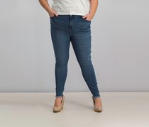 Plus Size Raw-Hem Skinny Jeans, Blue