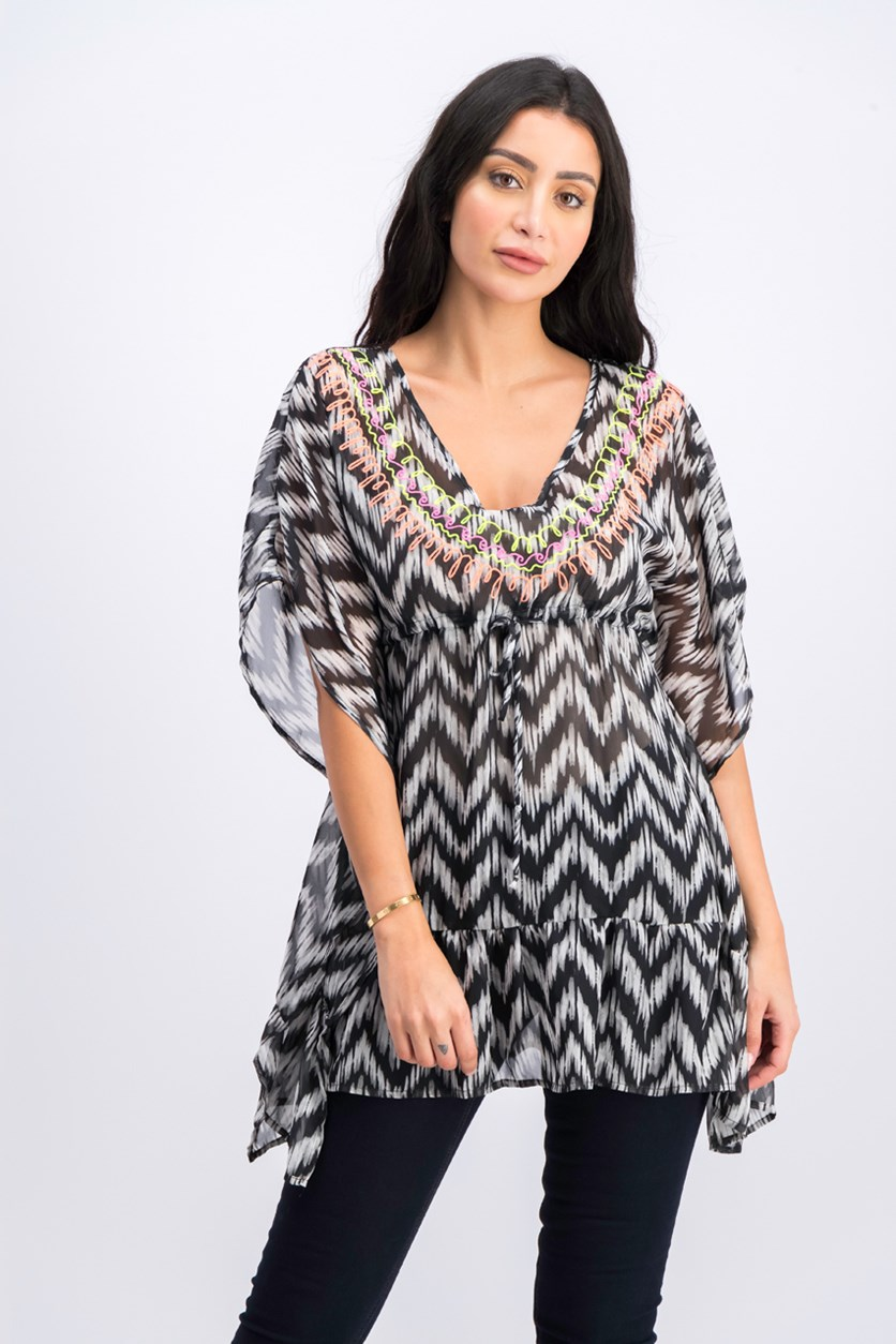 Women's Allover Printed Tunic Top, Black Combo