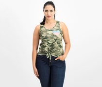 Rebellious One Juniors' Camo-Print Graphic Tank Top, Camo
