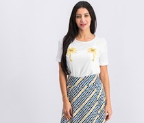Women Embroidered Palm-Tree T-Shirt, White
