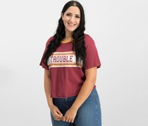 Rebellious One Juniors' Trouble Cotton Graphic T-Shirt, Burgundy/Mustard