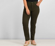 Tummy-Control Straight-Leg Jeans, Evening Olive