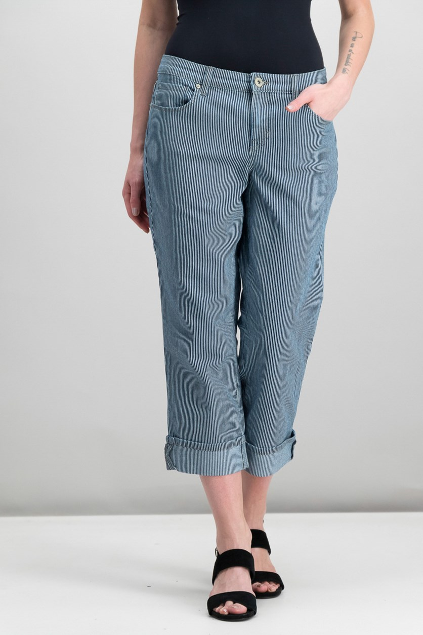 Cuffed French Birch Wash Jeans, Railroad Stripe