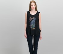 Jessica Simpson Juniors Linnie Graphic Top, Desert Black