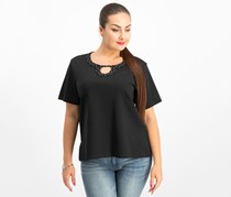 Alfred Dunner Petite Embellished Horseshoe-Neck Top, Black