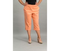 Alfred Dunner Women's Los Cabos Colored Denim Pull-on Capris, Peach