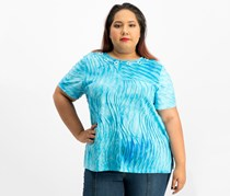 Alfred Dunner Plus Size Turks & Caicos Textured Top, Aqua