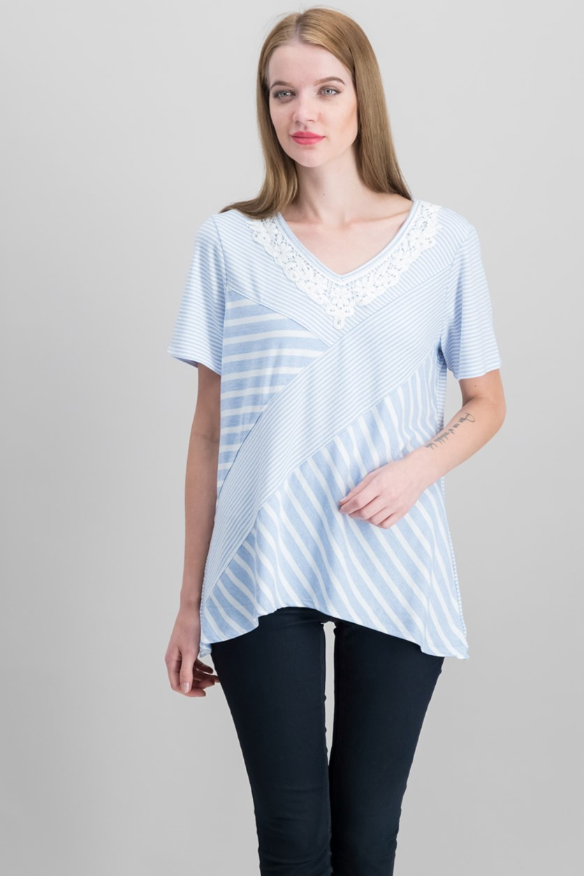 Women Mixed-Media Top, Blue/White Combo