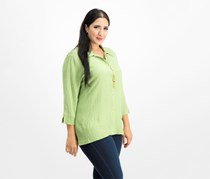 Alfred Dunner Layered-Look Necklace Top, Sage