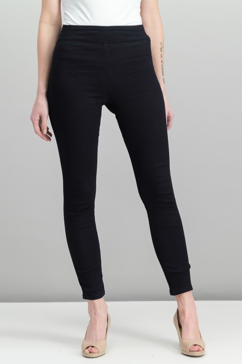 Womens Mid-Rise Skinny Jeggings, Black