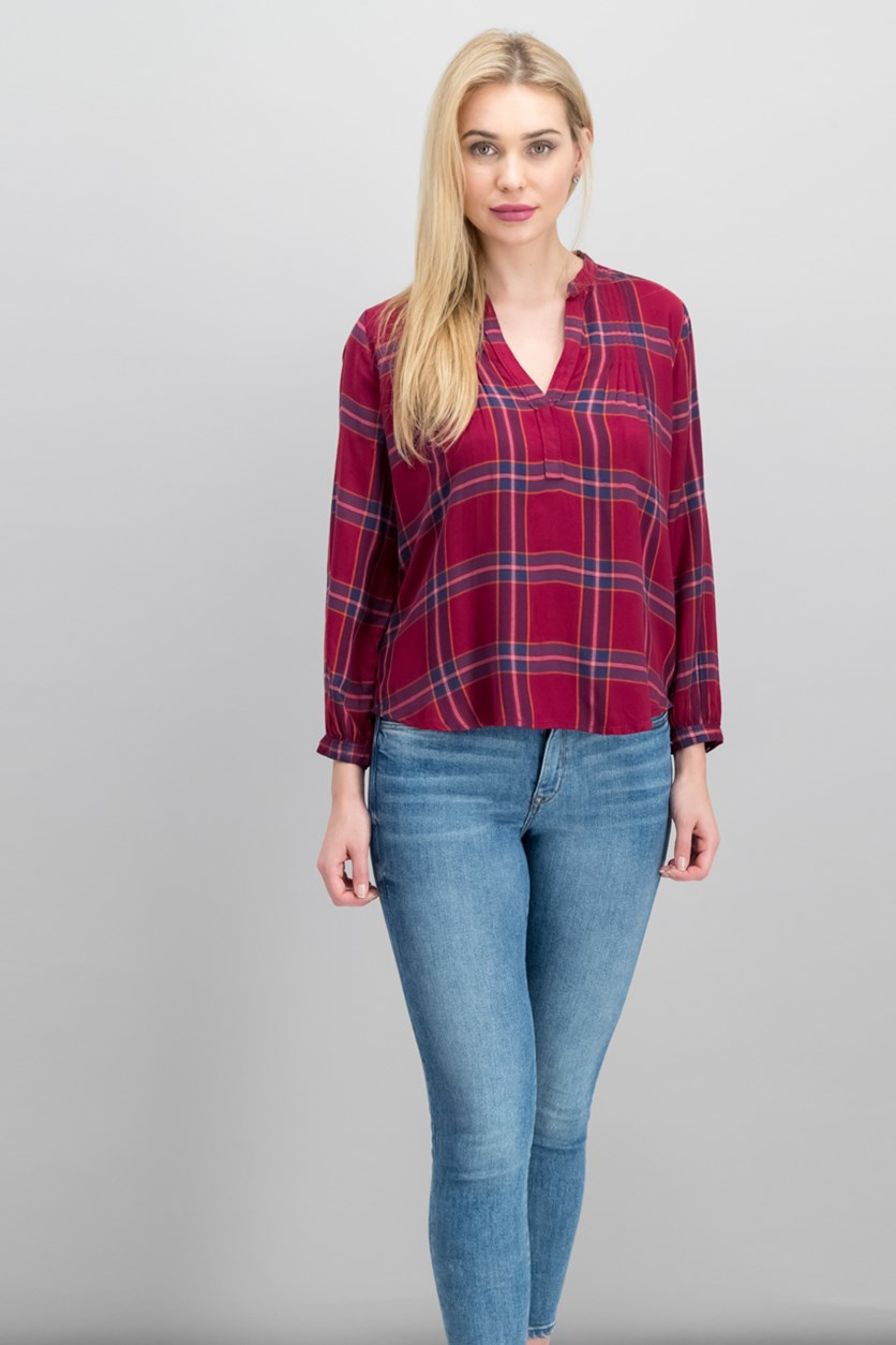 Women Plaid Pintuck-Pleat Shirt, Red Combo