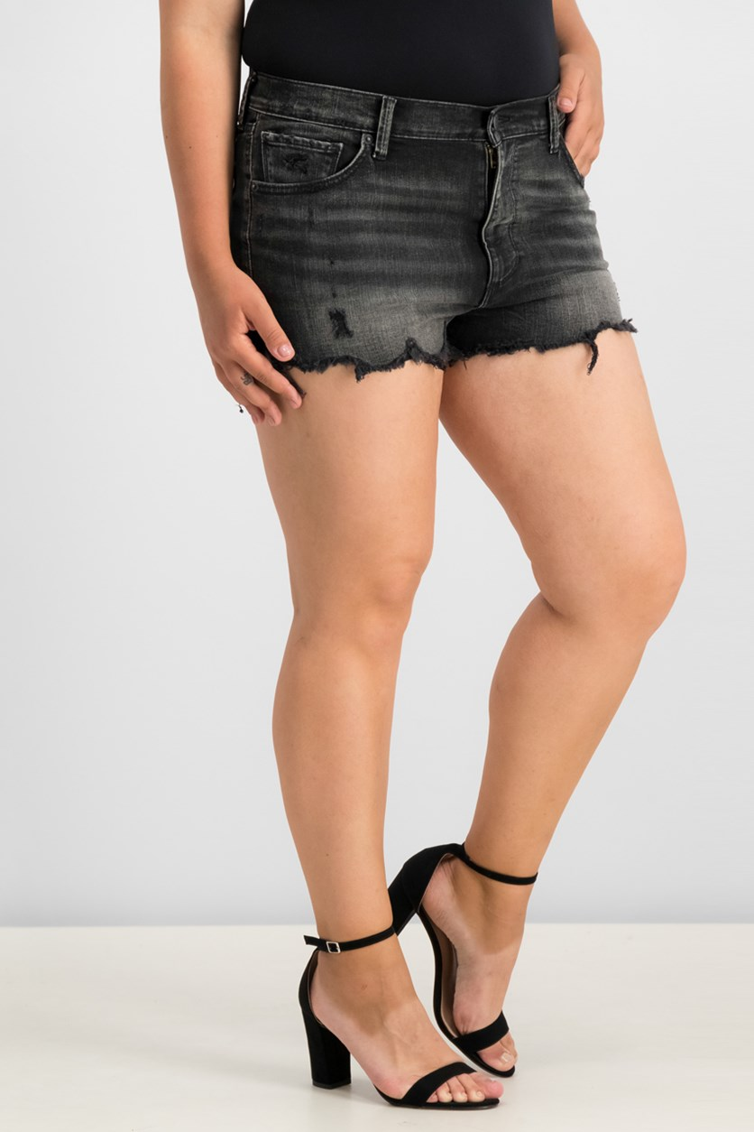 Women Frayed Denim Shorts, Black Wash