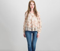 Lucky Brand Sheer Printed Blouse, Beige