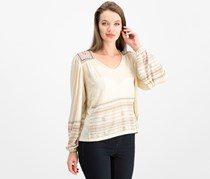 Women's Lucky Brand Market Embroidered Peasant Blouse, Cream