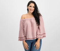 Lucky Brand Women's Off-The-Shoulder Top, Red Stripe