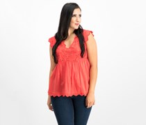Lucky Brand Women's Eyelet Peasant Top, Poppy Red