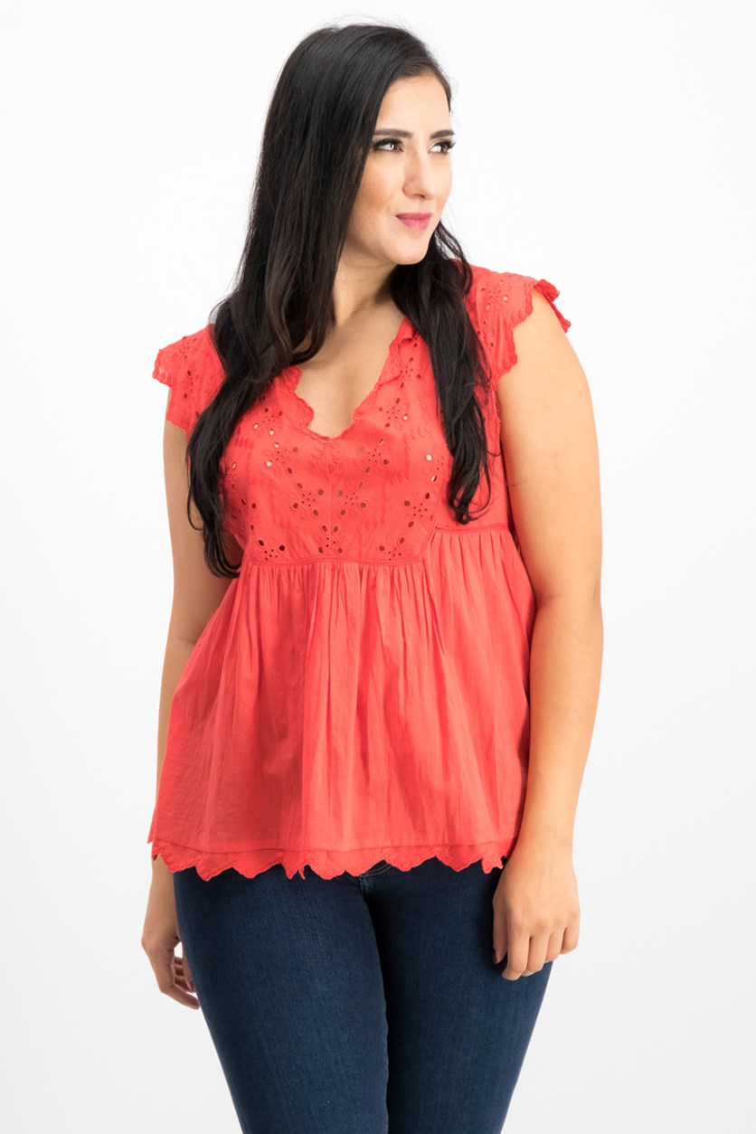 Women's Eyelet Peasant Top, Poppy Red