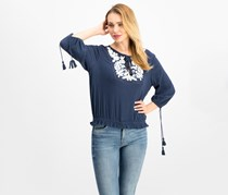 Lucky Brand Embroidered Tassel Top, American Navy