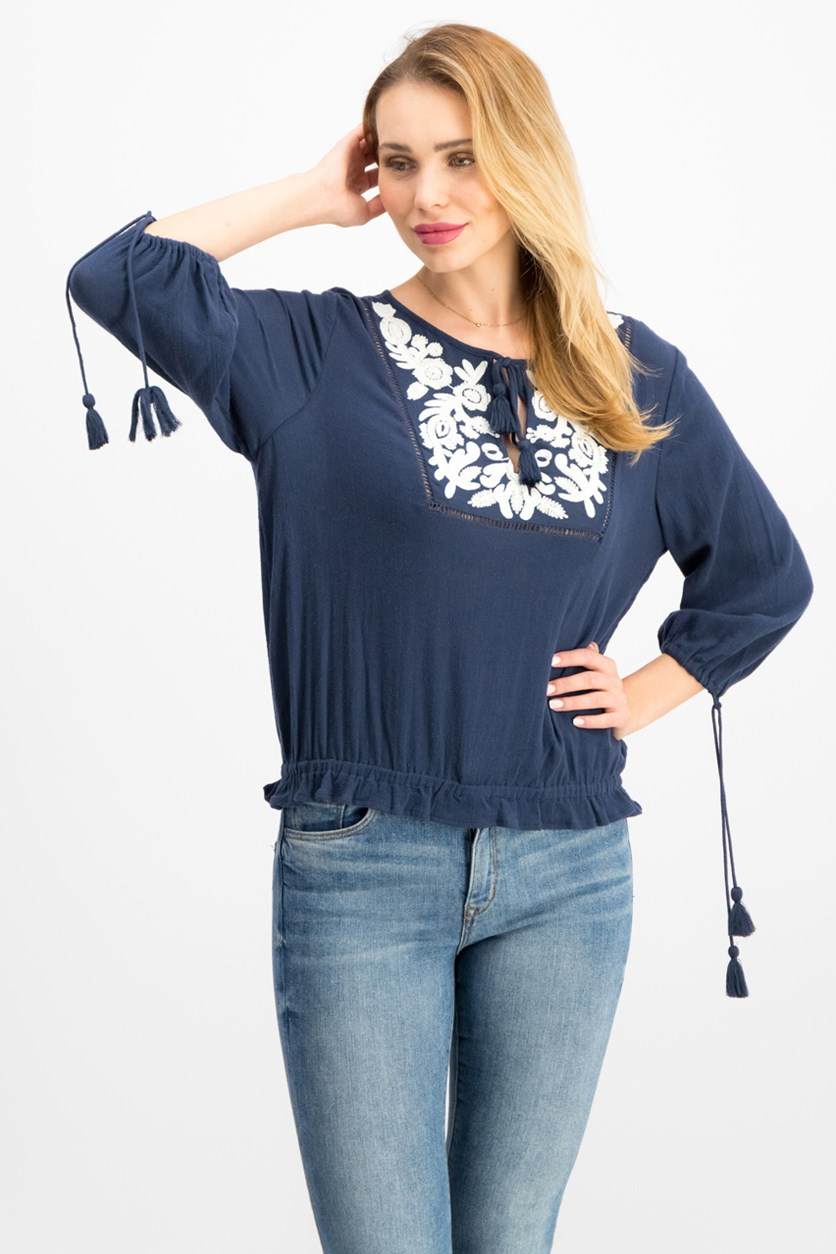 Embroidered Tassel Top, American Navy