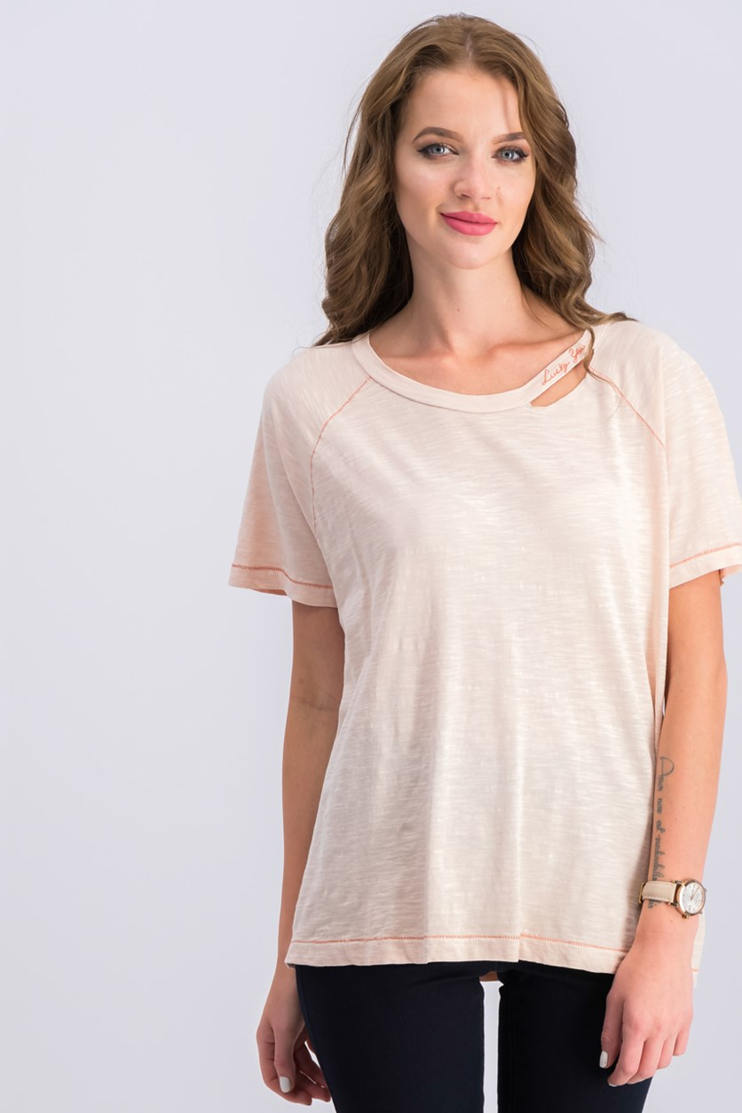 Women Cotton Embroidered T-Shirt, Peach Whip