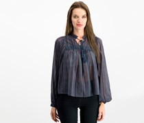 Lucky Brand Striped Peasant Top, Navy Combo