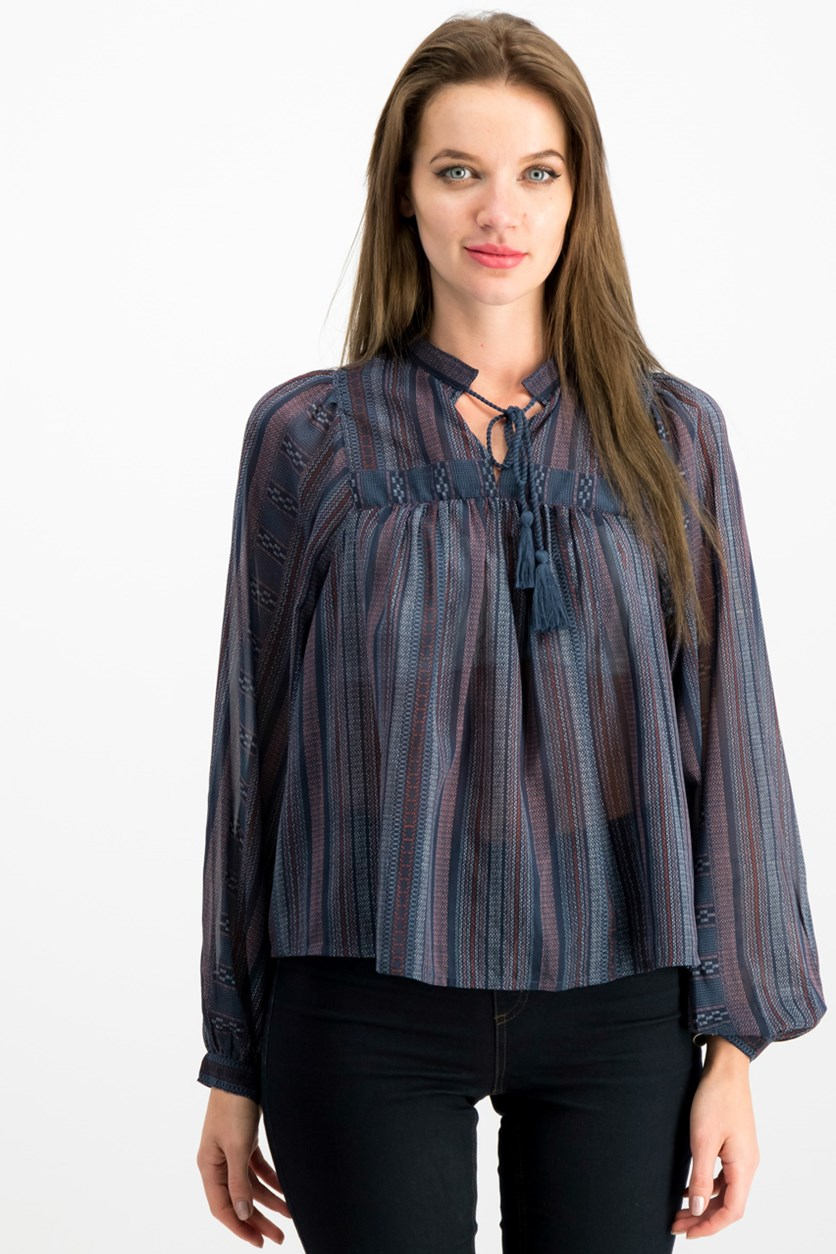 Striped Peasant Top, Navy Combo