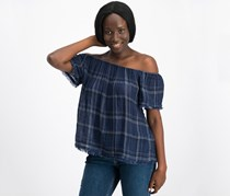 Lucky Brand Off-the-Shoulder Plaid Raw Edge Top, Blue Combo