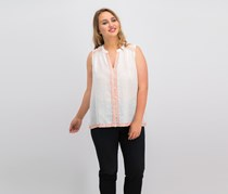 Lucky Brand Embroidered Sleeveless Top, White