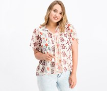 Lucky Brand Floral-Print Peasant Top, Ivory/Pink Combo
