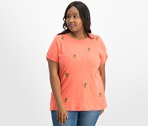 Lucky Brand Women's Trendy Plus Size Cotton Embroidered T-Shirt, Orange