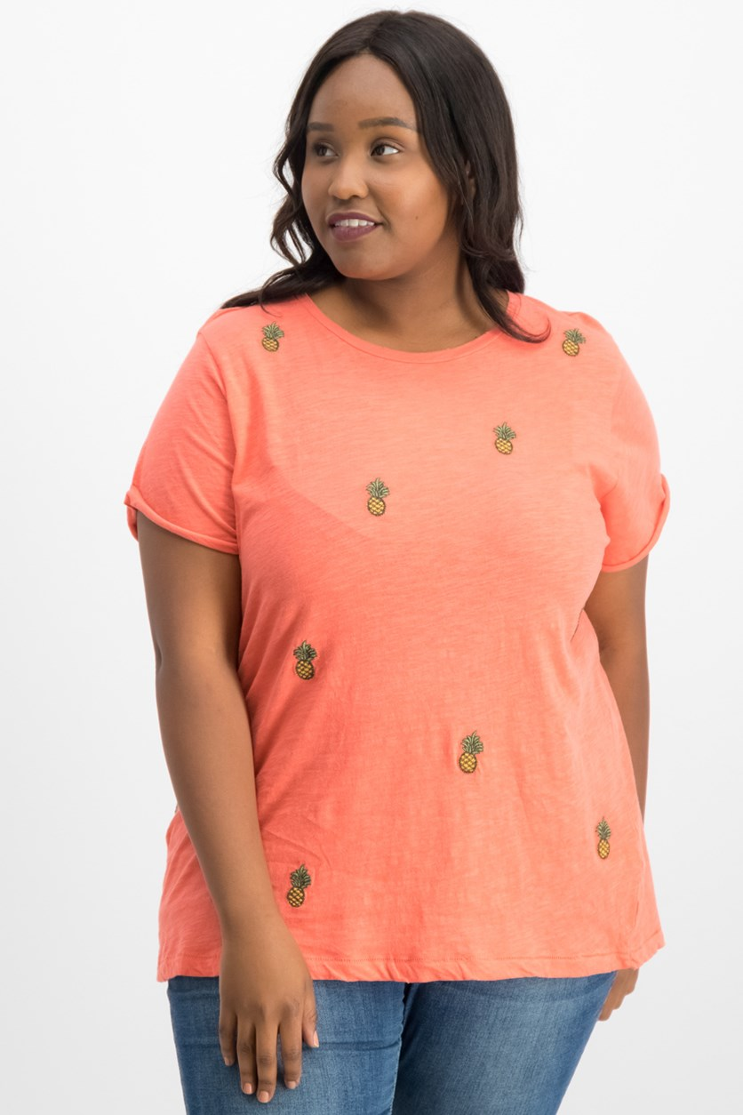 Women's Trendy Plus Size Cotton Embroidered T-Shirt, Orange