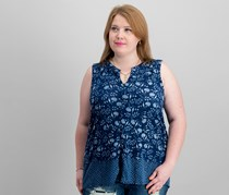 Lucky Brand Trendy Plus Size Printed Top, Blue