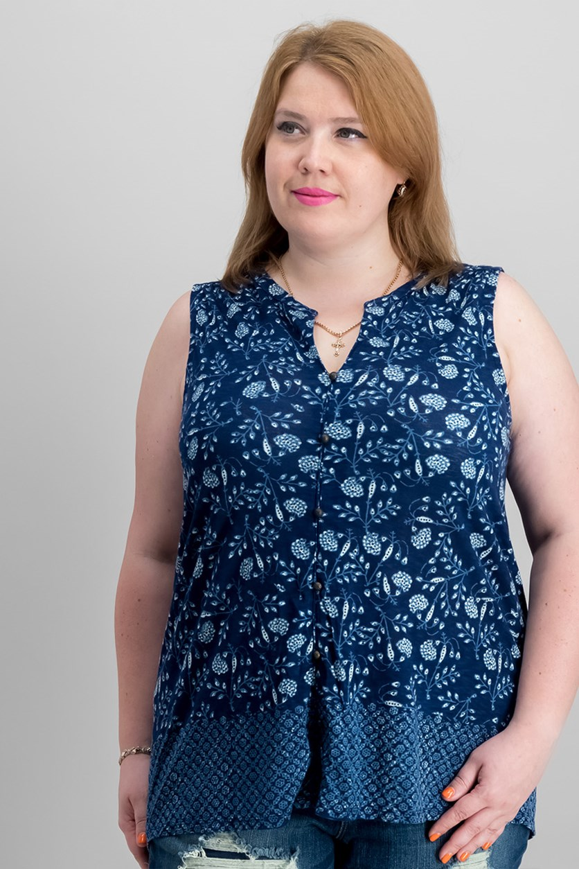 Trendy Plus Size Printed Top, Blue