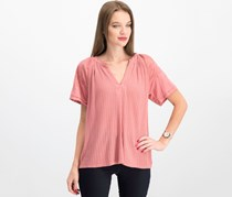 Lucky Brand High-Low Mixed-Media Top, Rose